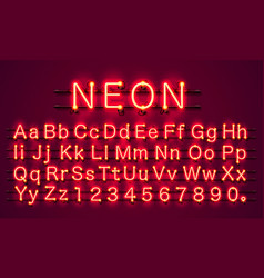 Neon city color red font english alphabet sign vector