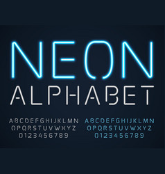 neon font latin fluorescent tubes latin alphabet vector image