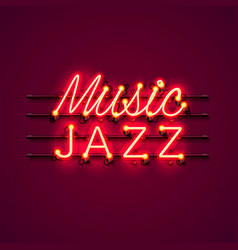Neon music jazz signboard vector