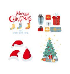 new year card with christmas tree santa hat vector image