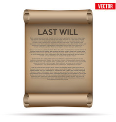 Old scrolled paper with last will and testament vector