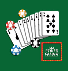 poker casino billboard poster cards and chips vector image