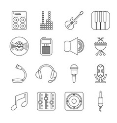 Recording studio symbols icons set outline style vector