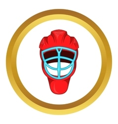 Red hockey helmet with cage icon vector image