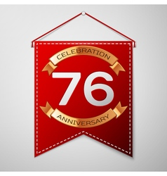 Red pennant with inscription Seventy six Years vector