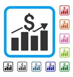 sales bar chart framed icon vector image