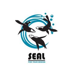 Sea seal emblem vector