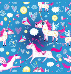 seamless funny pattern from unicorns vector image