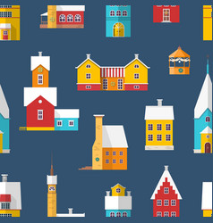 seamless pattern with residential buildings and vector image
