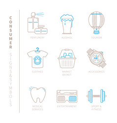 Set of shopping icons and concepts in mono thin vector