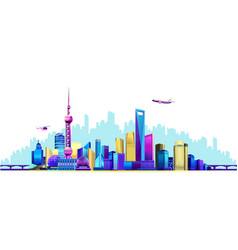 Shanghai embankment banner vector