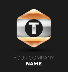 Silver letter t logo in silver-golden hexagonal vector