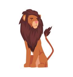 Sitting lion proud powerful mammal jungle animal vector