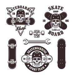 skateboarding set of emblems and elements vector image