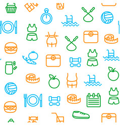 slimming signs thin line icon seamless pattern vector image