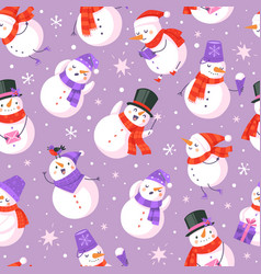 snowman seamless pattern new year and christmas vector image