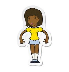 Sticker of a cartoon woman looking sideways vector