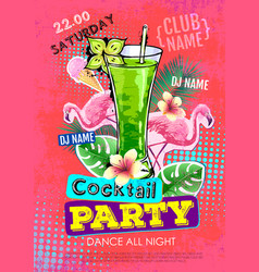 Summer cocktail party disco poster in zine style vector