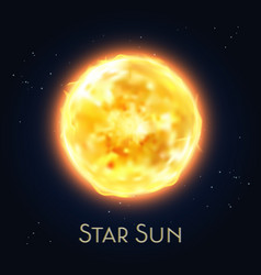 Sun star icon flare fire solar system sphere vector