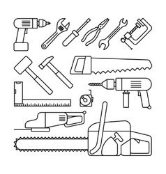 Tools thin line icons vector
