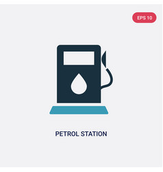 two color petrol station icon from transport vector image