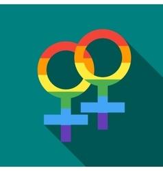 Two female rainbow gender symbols icon flat style vector