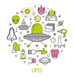 UFO and Space Thin Line Icons Set with Aliens vector