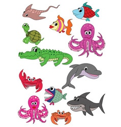 underwater animals vector image