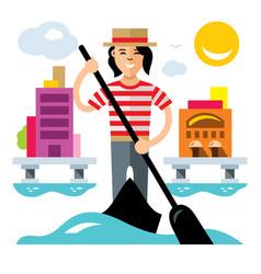 Venice gondola gondolier rowing oar flat vector