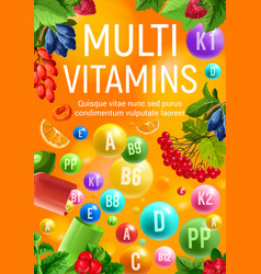 Vitamin and mineral complex banner of fresh fruit vector