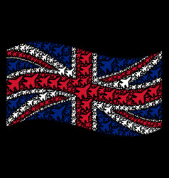 Waving great britain flag pattern of jet fighter vector