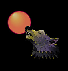 wolf head howling on moon vector image