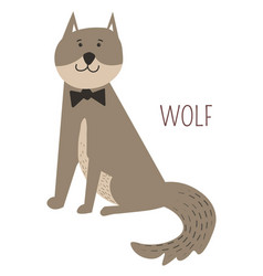 wolf in bowtie childish cartoon book character vector image