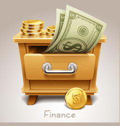 Wooden drawer for finance icon vector
