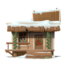 Wooden house decorated for Christmas with sign vector image