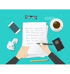 Writer writing on paper sheet workplace author vector image