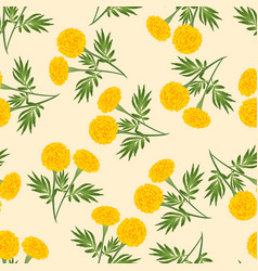 Yellow marigold seamless on beige ivory background vector