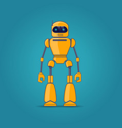 yellow robot on blue background vector image