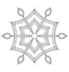 Zentangle stylized winter snowflake for Christmas vector