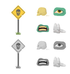 Zombies and attributes cartoonmonochrome icons in vector