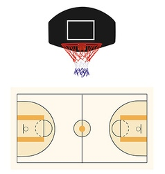 Basketball court and black hoop vector image