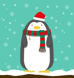 cute big fat penguin wear christmas hat and scarf vector image vector image