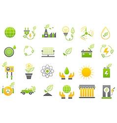 Eco yellow green icons set vector image vector image