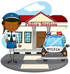 Police officer working at police station vector image