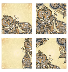 set of four hand draw ornate flower vector image