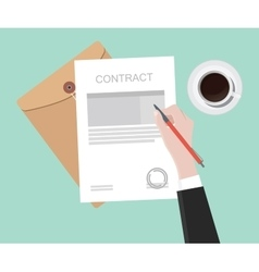 sign contract on paper document vector image vector image