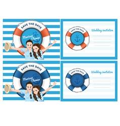 Wedding card invitation in blue sea theme vector image
