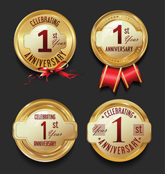 anniversary retro golden labels collection 1 year vector image vector image