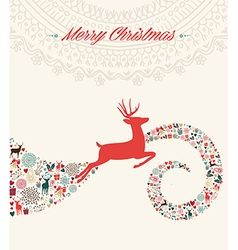 Christmas reindeer greeting card vector image vector image