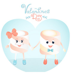 funny marshmallows greeting cards for valentines vector image vector image